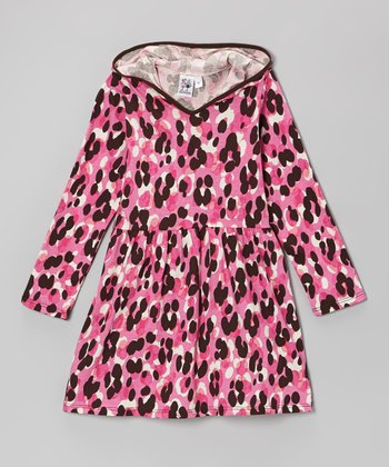 Pink Cheetah Hooded Dress - Toddler & Girls