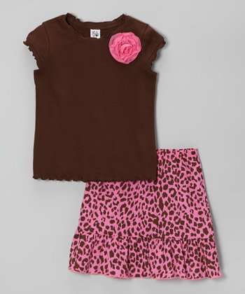 Brown Ruffle Cap-Sleeve Tee & Pink Cheetah Skirt - Girls