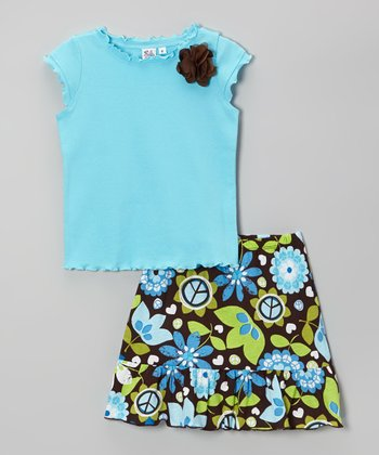Baby Blue Ruffle Cap-Sleeve Tee & Brown Floral Skirt - Girls