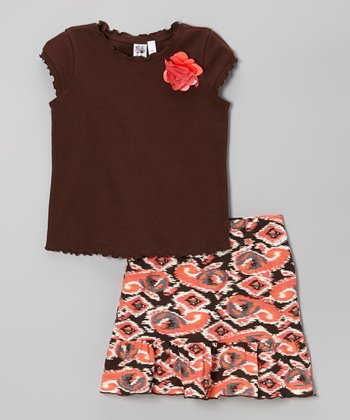 Brown Ruffle Cap-Sleeve Tee & Orange Ikat Skirt - Girls