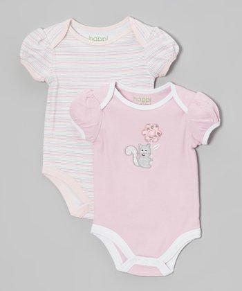 Heather Pink Flowers Bodysuit Set - Infant
