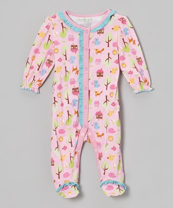 Pink Woodland Owl Ruffle Footie - Infant