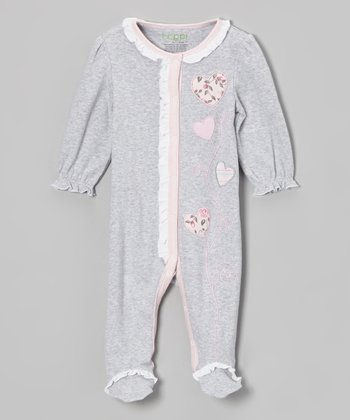 Heather Gray Flowers Ruffle Footie - Infant