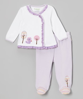 Purple Raccoon Ruffle Wrap Top & Footie Pants - Infant