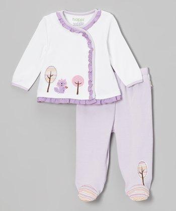 Purple Raccoon Ruffle Wrap Top & Footie Pants - Infant
