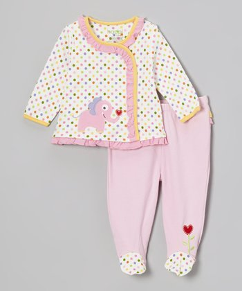 Pink Jungle Friends Ruffle Wrap Top & Footie Pants - Infant