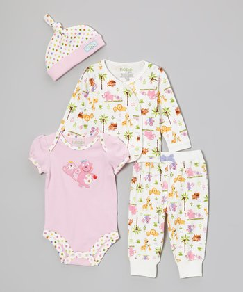 White Jungle Friends Wrap Top Set - Infant