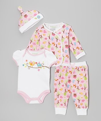 Pink Woodland Owl Wrap Top Set - Infant