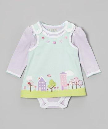 Lavender Bodysuit & Winter Mint Tree Jumper - Infant