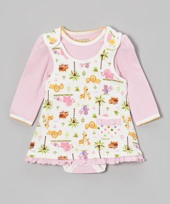 Pink Bodysuit & Jungle Friends Ruffle Jumper - Infant