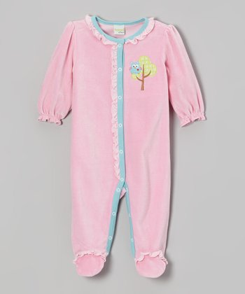 Pink Woodland Owl Velour Footie - Infant