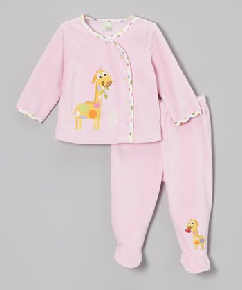 Pink Jungle Friends Velour Wrap Top & Footie Pants - Infant