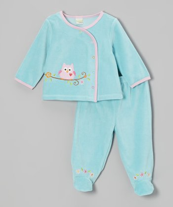Aqua Woodland Owl Velour Wrap Top & Footie Pants - Infant