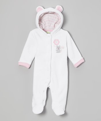 Heather White Flowers Fuzzy Hooded Footie - Infant