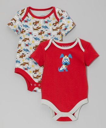 Red Puppy Love Bodysuit Set - Infant