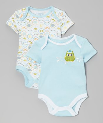 Light Blue Winter Owl Bodysuit Set - Infant