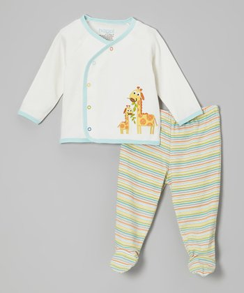 White Jungle Friends Wrap Top & Footie Pants