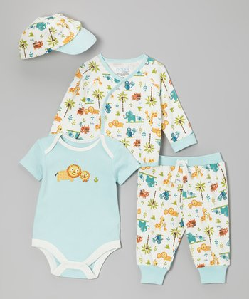 White & Blue Jungle Love Wrap Top Set - Infant