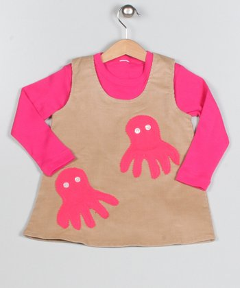 Pink & Brown Octopus Dress & Long-Sleeve Tee - Toddler & Girls
