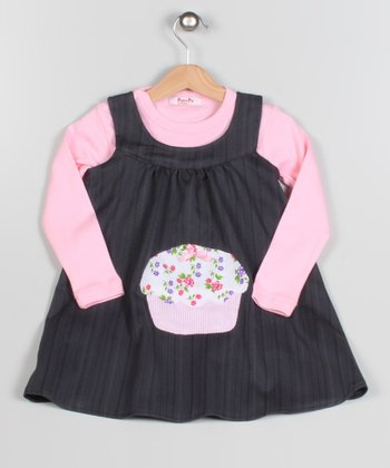 Pink & Brown Cupcake Dress & Long-Sleeve Tee - Toddler & Girls