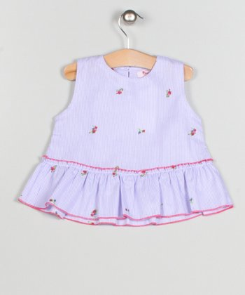 White & Pink Seersucker Rose Ruffle Dress - Toddler & Girls