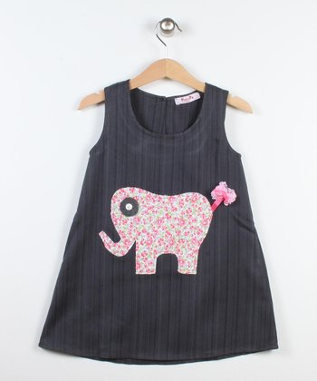 Dark Gray & Pink Elephant A-Line Dress - Toddler & Girls