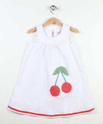 White & Red Cherry Yoke Dress - Toddler & Girls