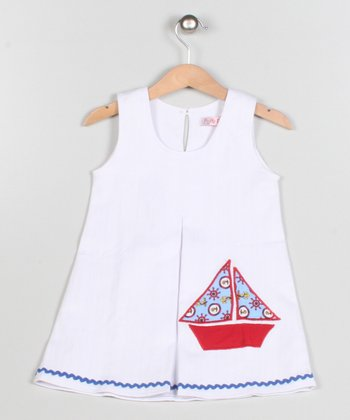 White & Red Boat Dress - Toddler & Girls