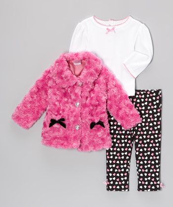 Hot Pink Hearts Jacket Set - Infant
