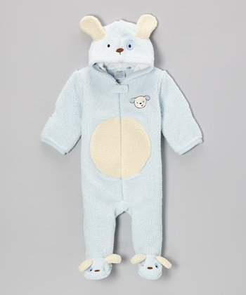 Blue Puppy Hooded Footie - Infant
