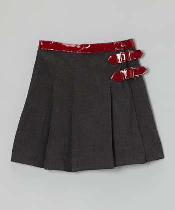 Gray Double-Buckle A-Line Skirt - Toddler & Girls