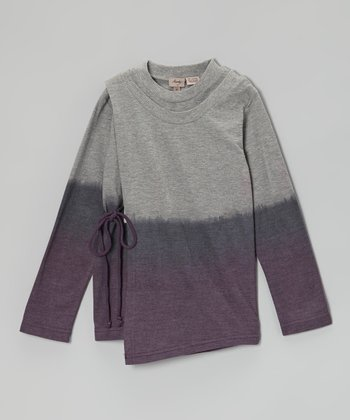Gray & Purple Ombré Wrap Top - Girls
