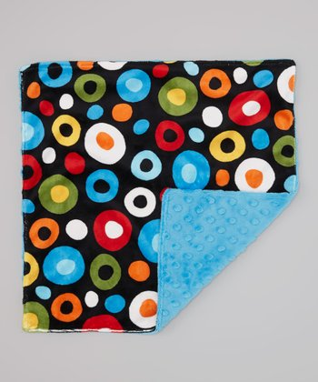 Azure & Wonky Dot Minky Security Blanket