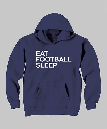 Navy 'Eat Football Sleep' Hoodie - Toddler & Kids