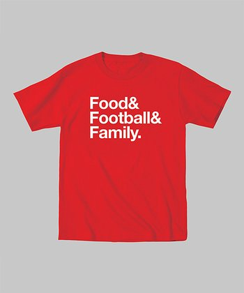 Red 'Food Football Family' Tee - Toddler & Kids