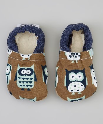 Brown & Blue Owl Bootie