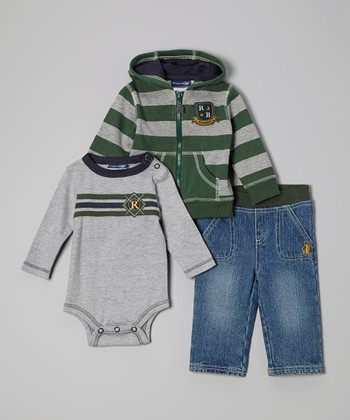 Green & Gray 'Academy' Zip-Up Hoodie Set - Infant, Toddler & Boys