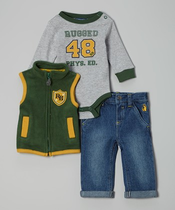 Green & Gray 'Phys Ed' Bodysuit Set - Infant