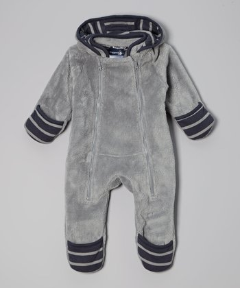 Gray & Navy Fleece Hooded Bunting - Infant