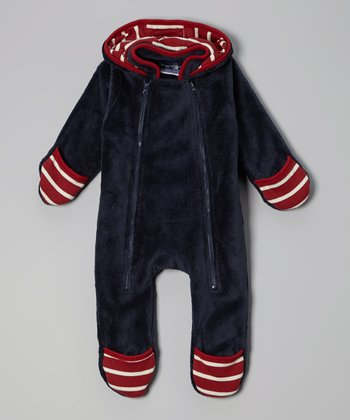 Navy & Red Fleece Hooded Bunting - Infant