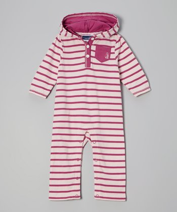 Pink & White Stripe Hooded Playsuit - Infant