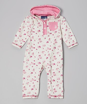 Pink & White Hooded Playsuit - Infant