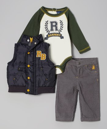 Green & Navy 'Academy' Bodysuit Set - Infant