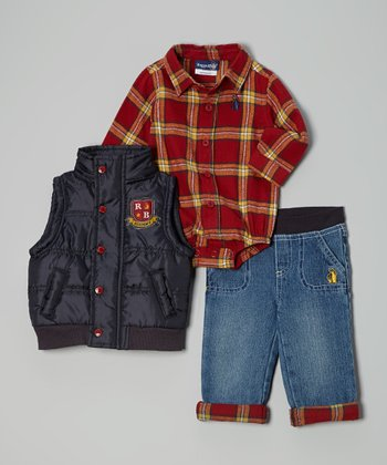 Red & Navy Plaid Bodysuit Set - Infant