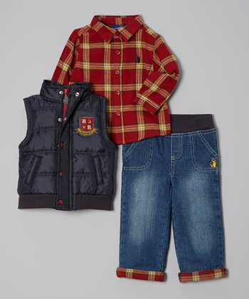 Navy & Red Plaid Puffer Vest Set - Infant, Toddler & Boys