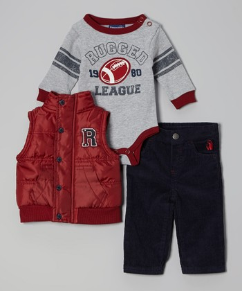 Red & Navy Football Puffer Vest Set - Infant