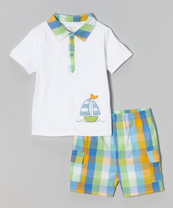 Green & Blue Plaid Sailboat Polo & Shorts - Toddler