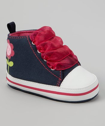 Navy & Pink Flower Hi-Top Sneaker