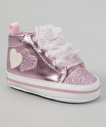 Light Pink Metallic Glitter Heart Hi-Top Sneaker