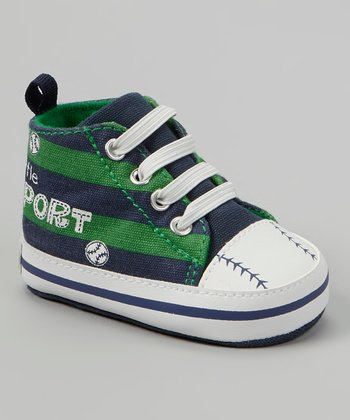 Navy & Green Stripe Baseball 'Little Sport' Sneaker